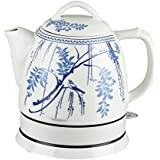 GForce GF-P1056-871 Ceramic Electric Kettle with Perforated Built in Filter, 1 L, Blue/Ivory