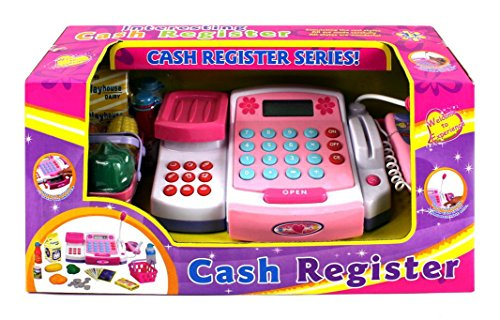 VT KX Supermarket Pretend Play Battery Operated Toy Cash Register w/ Working Scanning Action, Mock Scale and Money, Groceries (Kids Scanning Cash Register compare prices)