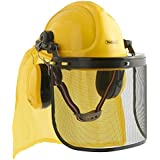 VonHaus - 4 in 1 Construction / Chainsaw / Forestry Helmet Hardhat Set - Hard Hat with Visor, Ear Defenders, Face Shield & Cape