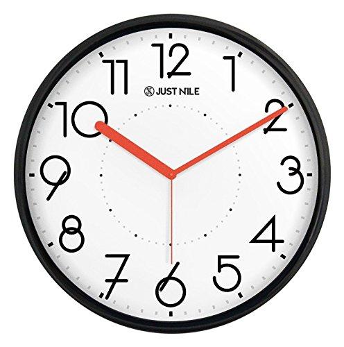 JustNile Silent Non Ticking Modern Wall Clock - 13 Black Frame/Red Hands
