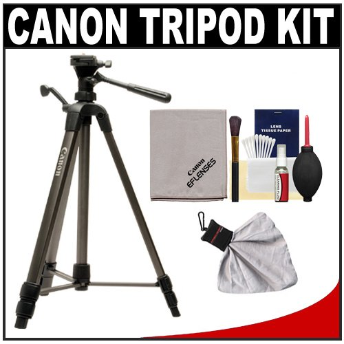 """Canon 62"""" Deluxe Photo/Video 300 Tripod With 3-Way Panhead & Case + Cleaning Kit For Eos 1D, 5D, 50D, 60D, 7D, Rebel Xs, Xsi, T1I, T2I Digital Slr Cameras, Lenses & Binoculars"""