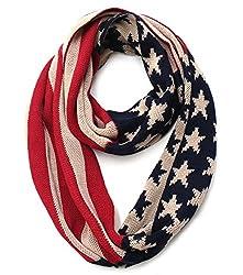 Americana Old Glory Star Spangled Flag Knit Infinity Scarf (Navy)