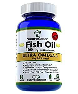 Fish Oil Omega 3 Capsules 1500mg -Liquid Pills With EPA DHA Vitamin Supplements- Weight Loss Benefits-Best Omega-3 Fatty Acids vitamin Softgel Heart Health Nutrition-Dietary Nutritional Supplement-Antioxidants-100%Money Back GUARANTEED!Made in USA