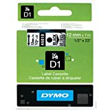 DYMO High-Performance Permanent Self-Adhesive D1 Polyester Tape for Label Makers, 1/2-inch, Black Print on Clear, 23-foot Cartridge (1838816)
