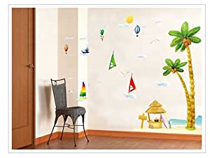 Design Seascape with Sailing Boats Coconut Tress Hydrogen Balloon Cloud and Sun Removable Wall Sticker for Room Wall by New Design