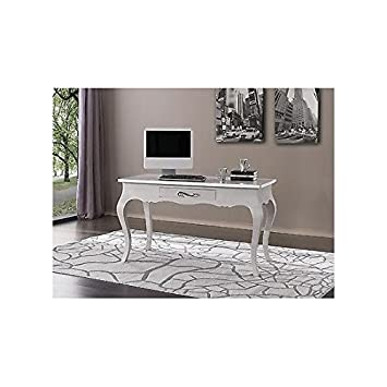 Table Desk White Lacquered Solid Wood – As Photos
