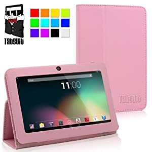 TabSuit® 7'' PU Leather Case for 7'' Tablet Dragon Touch A13 Q88, Y88, Zeepad, Chromo, Alldaymall, Matricom Tab Nero, Tagital w/ Dual Camera [by TabletExpress](Pink)