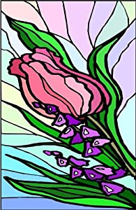 Pink & Red Tulip and Purple Spire Flowers-Etched Vinyl Stained Glass Film, Static Cling Window Decal