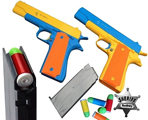2 PACK PLAYSET: Classic Colt 1911 Toy Gun with Soft Bullets, Ejecting magazine, and pull back action, 1:1 Replica of an M1911A1 Colt 45. Metal Sheriff Badge Included (Guns With Rubber Bullets compare prices)