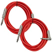 Seismic Audio SAGC10R-Red-2Pack 10-Feet, 2 Pack TS 1/4-Inch to 1/4-Inch Right Angle TS Guitar Cables, Red