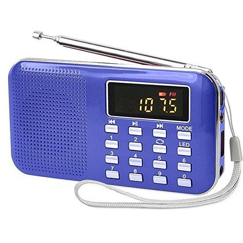 iMinker Mini portatile digitale AM   / FM dell'altoparlante di mezzi di musica MP3 Player di sostegno TF / porta USB con schermo di visualizzazione del LED, torcia elettrica di emergenza, 3.5mm Jack (Blu)