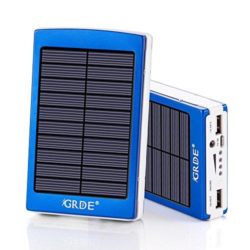 BEST 10000mAh 大容量モバイルバッテリー、ソーラーチャージャー、2ポート 二つの充電方法 iSmart機能搭載 急速充電可能、iPhone6s / iPhone6 / iPhone5 / iPad / Xperia / Nexus/ Android等対応 (ブルー2)