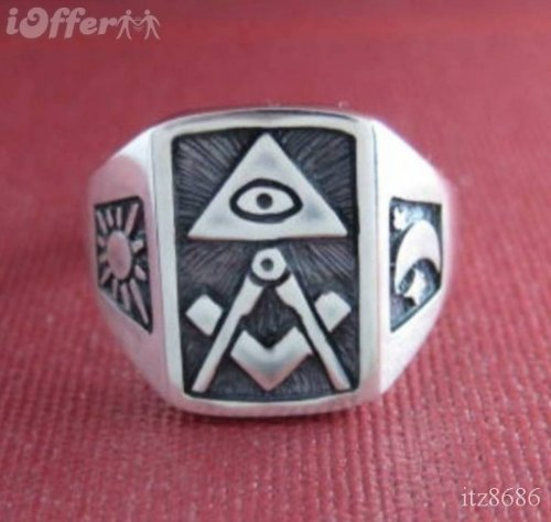 ALL Seeing EYE Mason Masonic Freimaurer Signet Solid Sterling Silver 925 Ring