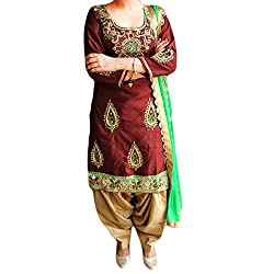 Reet Glamour Women 's Crepe Silk Unstitched Brown Heavy Embroidered Punjabi Suit