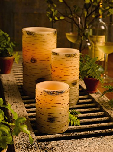 The Amazing Flameless Candle Unscented 10Mm Led Wax Pillar, 4 By 8-Inch, Birch Bark