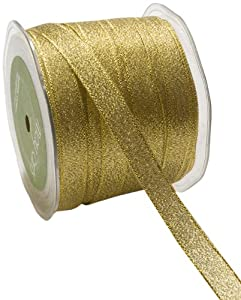 May Arts 1/2-Inch Wide Ribbon, Metallic Gold