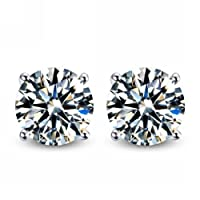 925 Sterling Silver Round Cubic Zirconia Stud Earrings by Silver Depot