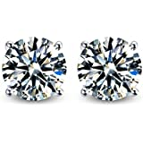 FANTOM 3.00 Carat Total Weight 7.50 Mm Each Round Cubic Zirconia Earrings. Set on Hi...