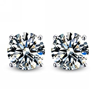 3 00 Carat Total Weight 7 50 Mm Each Round Cubic Zirconia Earrings Set On High Quality 925 Sterling Silver Heavy Settings Jewelry