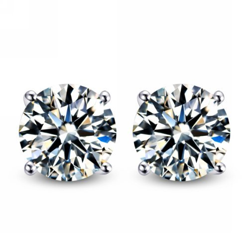 3 00 Carat Total Weight 7 50 Mm Each Round Cubic Zirconia Earrings Set On High Quality 925 Sterling Silver