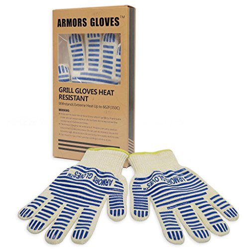Armors Gloves (Set Of 2) - Top Quality Grill & Oven Gloves -Kvlar Gloves Heat Resistant Grill Gloves - Bbq & Kitchen Heat Resistant Glove Perfect For Oven, Grill & Barbecue, Hot Objects Bonfire And Fireworks (2 Gloves Included)