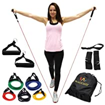 Wacces Resistance Band Set with Door Anchor, Ankle Strap, Exercise Chart, and Resistance Band Carrying Case (11 Pcs Set)