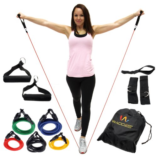 Wacces-Resistance-Band-Set-with-Door-Anchor-Ankle-Strap-Exercise-Chart-Resistance-Band-Carrying-Case-11-Piece