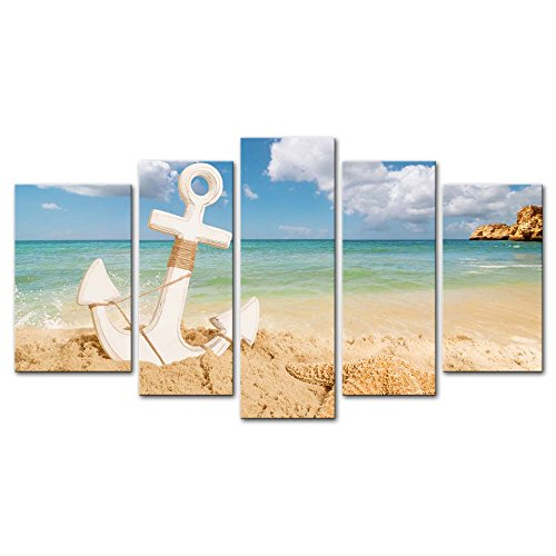 5 Pieces Modern Canvas Painting Wall Art The Picture For Home Decoration Anchor With Starfish On Sandy Beach Summer Holiday Concept Beach Seascape Print On Canvas Giclee Artwork For Wall Decor (Nautical Paintings compare prices)