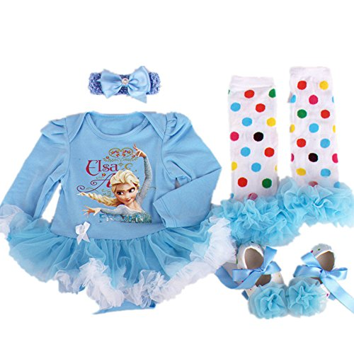 Starkma 4PC/LOT Elsa Newborn Infant Baby Girl Set Clothe Long Sleeve Cake Dress F05