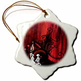 3dRose orn_159513_1 Till Death Do Us Part and Forever After Zombies Ghosts Porcelain Snowflake Ornament, 3-Inch