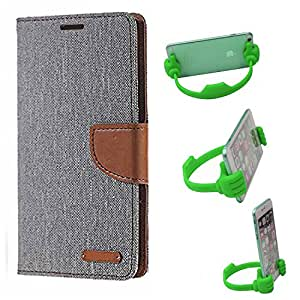Aart Fancy Wallet Dairy Jeans Flip Case Cover for Redmi2S (Grey) + Flexible Portable Mount Cradle Thumb OK Designed Stand Holder By Aart Store.