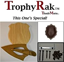 TrophyRak Deer Antler Large Arrowhead Mounting Plaque Kit with Brown Skullcap