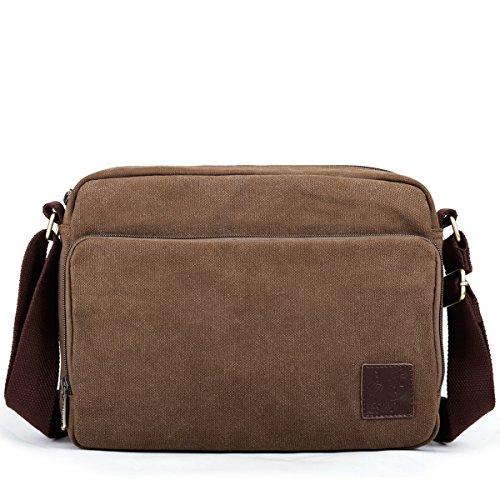 Eshow borsa a tracolla da uomo borsa monospalla da uomo borsa di tela giornaliera marrone