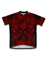Black & Red Tribal Short Sleeve Cycling Jersey for Women