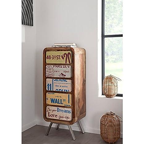 WOLF muebles diseño retro con cómoda 5 cajones madera maciza Tero Shisham