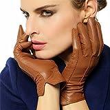 【WARMEN】レディース  レザー 本革 羊革 ナッパ革 手袋 グローブ 手ぶくろ  冬  保温  暖かい  黒  濃茶  ブラウン  紫  ネービーブルー L085NC (S, 黒)