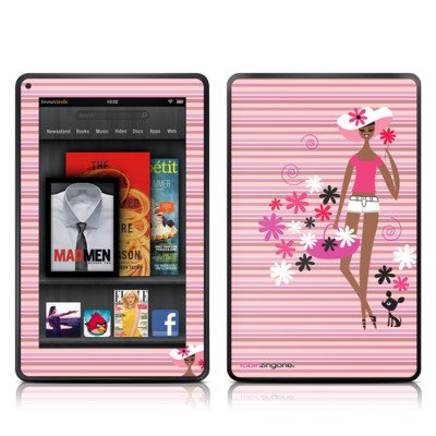 Flower Child Design Protective Decal Skin Sticker (Matte Satin Coating) - Matte Satin Coating For Amazon Kindle Fire (7 Inch Color Multi-Touch Display) front-1025384