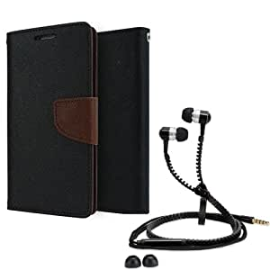 Aart Fancy Diary Card Wallet Flip Case Back Cover For Mircomax A106-(Black brown) + Zipper earphones/Hands free With Mic *Stylish Design* for all Mobiles By Aart store