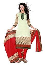 Women`s Green Cotton Printed Suit Dress Materials