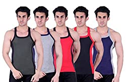 Zimfit Superb Gym Vests - Pack of 5 (GRN_GRY_RED_BLK_BLU_95)