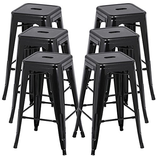 go2buy 6 Pcs 26'' Metal Frame Bar Stools Vintage Counter Bar Stool Heavy Duty Black (Vintage Shop Stool compare prices)