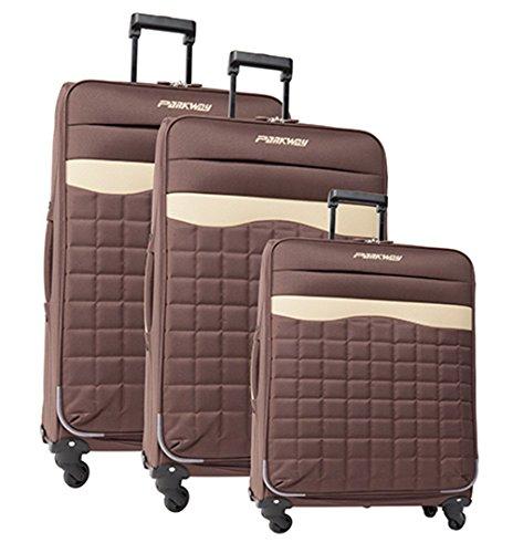 lot de 3 valises-chariots 4 roues - système trolley intérieur - entièrement doublé - Gamme PARKWAY