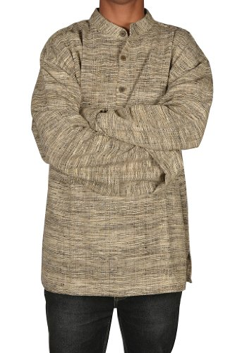 Handmade Casual Wear Indian Khadi Mens Short Kurta Fabric For Winter & Summers Size 4XL