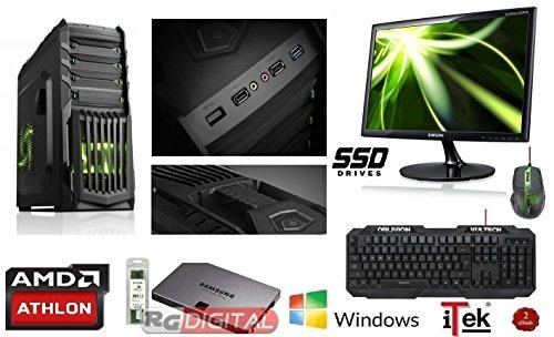 """RG GREEN - PC DESKTOP GAMING ITEK SNAKE QUAD CORE AMD ATHLON X4 860k 3.7 GHZ WIFI RAM 8GB 1600 MHZ HD STATO SOLIDO SSD 240 GB SATA III/SCHEDA VIDEO DEDICATA 1GB GEFORCE G210/USCITE HDMI,VGA,DVI USB 2.0,3.0, HD + CAPACITA' VIDEO IN 4K COMPLETO ULTRA VELOCE + MONITOR LED 22"""" SAMSUNG TASTIERA E MOUSE GAMING MULTICOLOR - PRONTO ALL'USO adatto Ufficio, Famiglia,Gamer Gaming PC Multimedia"""