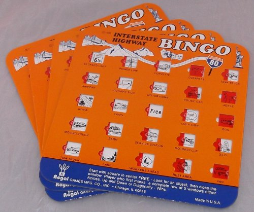 Great Features Of Orange Interstate Highway Backseat Bingo Pack of 4 Bingo Cards (Great For: Family ...
