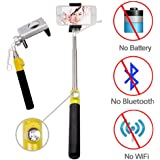 Looq® G_The Second Generation Selfie_ True Wired-remote Shutter for Self Portrait Selfie Handheld Stick Monopod with Adjustable Phone Holder, No Battery, No WiFi, No Bluetooth, Save Phone Battery Power, No Limit Button Use, High Speed Shutter Response Time and Extendable Telescoping Selfie Pole for Android and iOS Smartphones (Samsung, HTC, Sony, iPhone etc.)