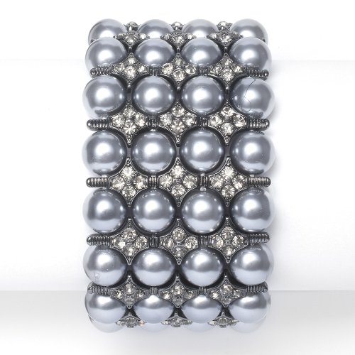 Grey Pearl & Hematite Stretch Bracelet