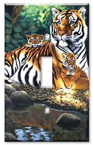 Art Plates - Tiger and Cubs Switch Plate - Single Toggle