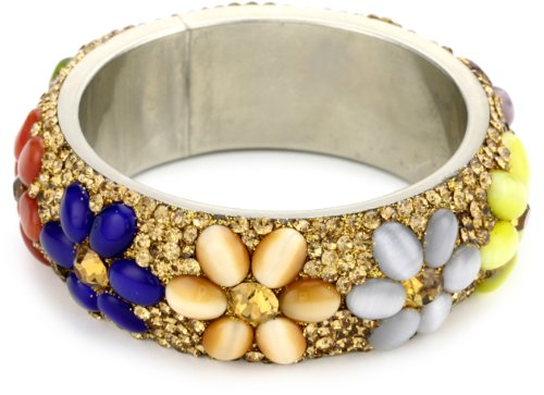 Chamak by priya kakkar Multi Color Glass Floral Beads Bangle Bracelet