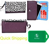 Huawei Ascend G510 Universal Printed wallet w/phone holder in Purple w/ Black and white leopard